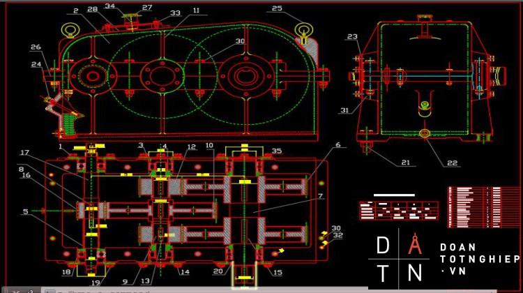 Hộp giảm tốc hai cấp phân đôi cấp chậm thiết kế hệ dẫn động gàu xúc